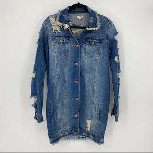 Love Fire Jean Jacket Dress Distressed Frayed Hem